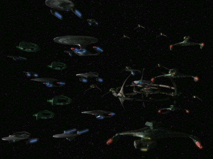 The allied fleet departs DS9.