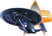 Star Trek Minutiae logo: A forward-lower view of the USS Enterprise-E partially obscuring a DS9-era Starfleet insignia in the background.