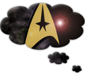 Star Trek Minutiae revised logo: A rounded thought bubble enclosing the Starfleet delta insignia with a starfield and light flare.
