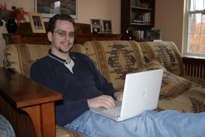 Dan and his iBook, circa November 2003