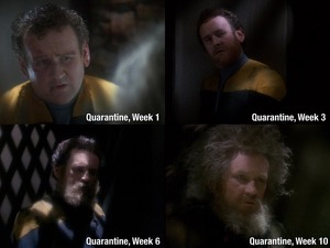 "Four progressive photos of Miles O'Brien from the episode ""Hard Time"", showing him with looking haggard with progressively longer hair and beard. The four photos are labeled week 1, week 3, week 6, and week 10."