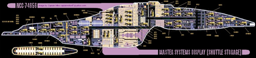 A master systems display cutaway view of the USS Voyager, with many, many shuttlecraft seen stored in every room of the ship.