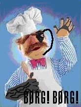 The Swedish Chef (from The Muppets) with Borg prosthetics, exclaims Borg! Borg! Borg!